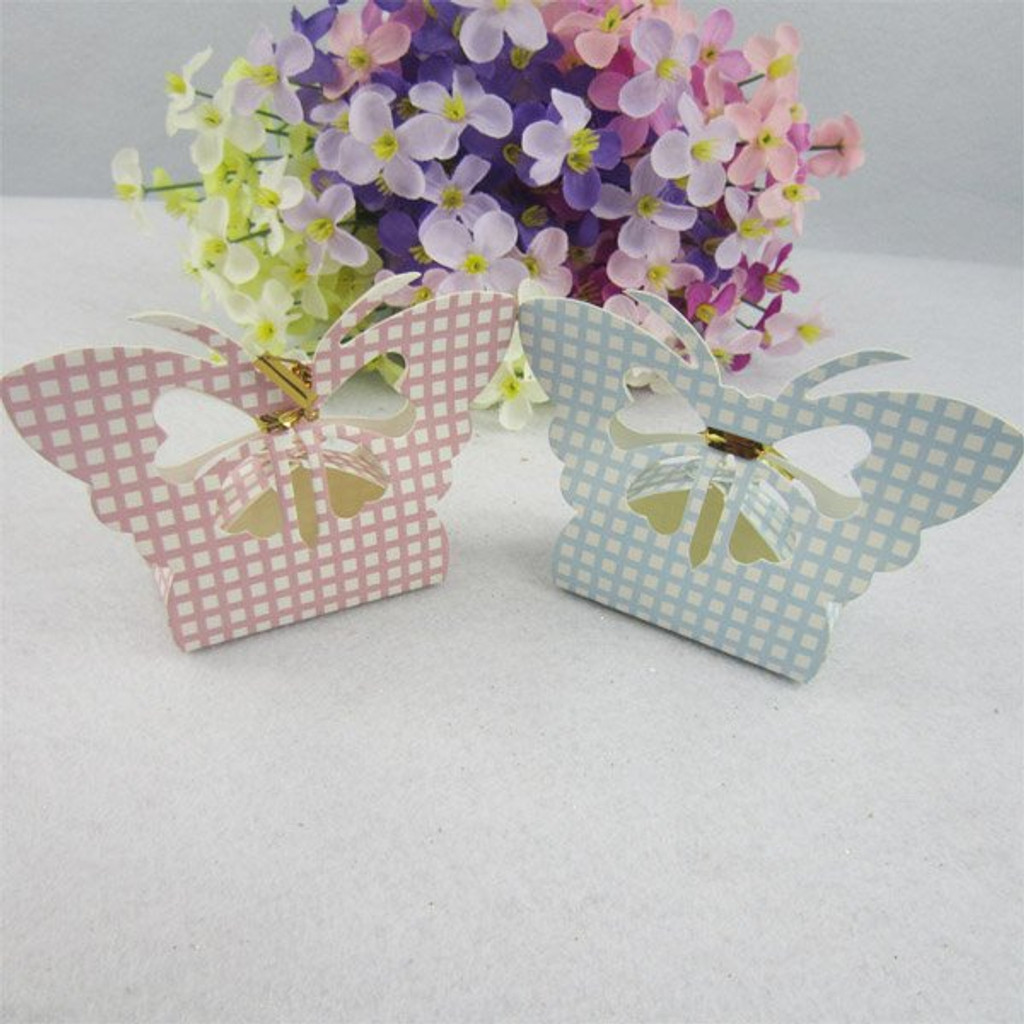 Butterfly Check Design Favour Box - 12 Pack (Pink or Blue)