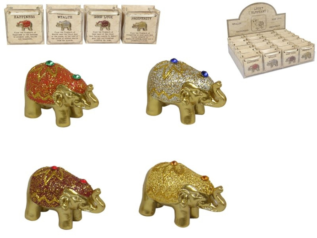 Lucky Elephant in Gift Bag - 4 Assorted Designs