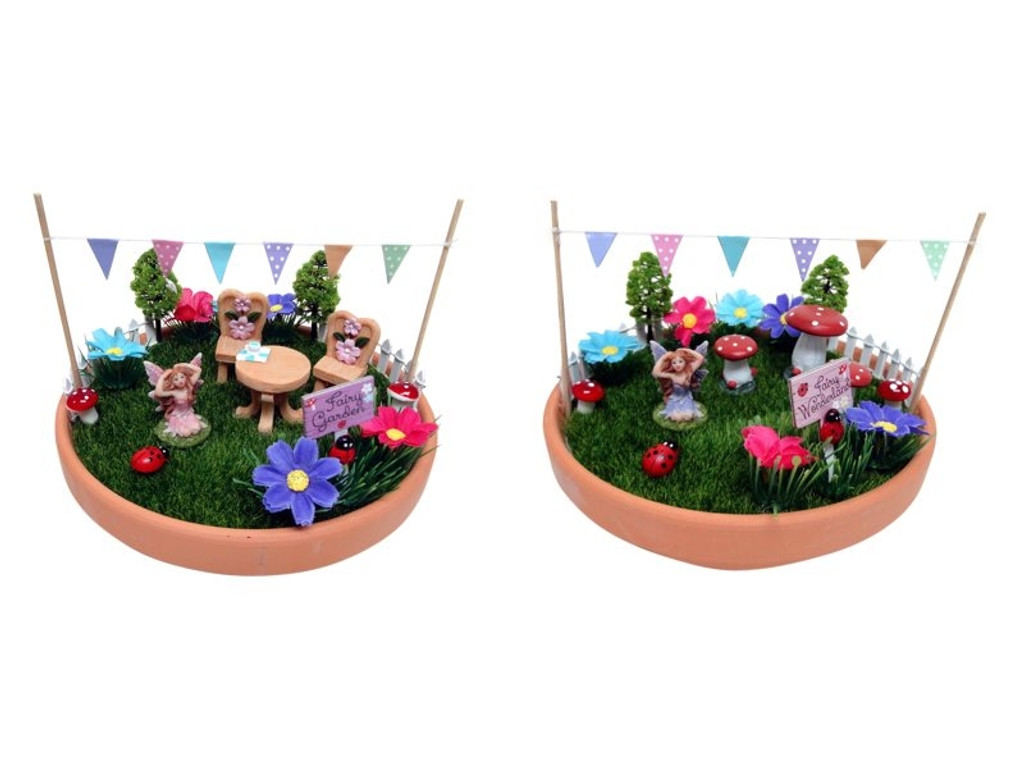 Fairy Garden in Pot with Table Setting
