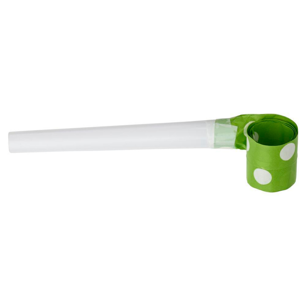 Lime Green and White Spot Blowouts - 6 Pack