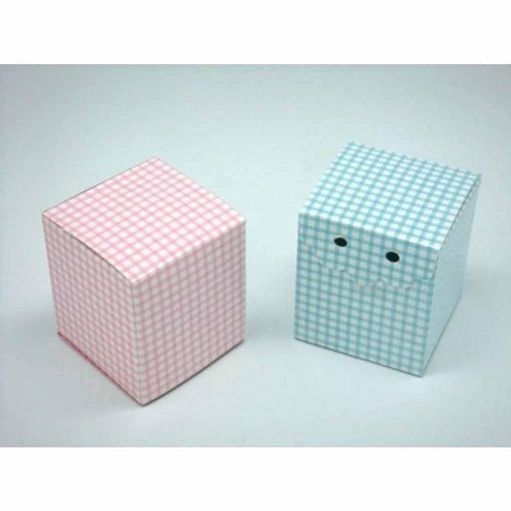 Cube Check Design Favour Box - 12 Pack (Pink or Blue)