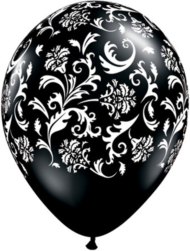 28cm Black Damask  Printed Balloons - 24 Pack