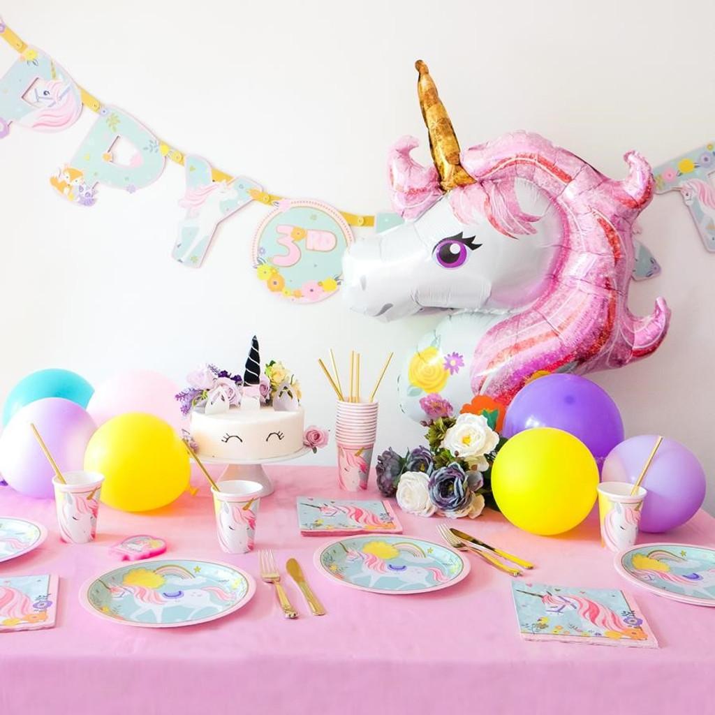 Magical Unicorn Floral SuperShape Foil Balloon - 83cm x 73 cm