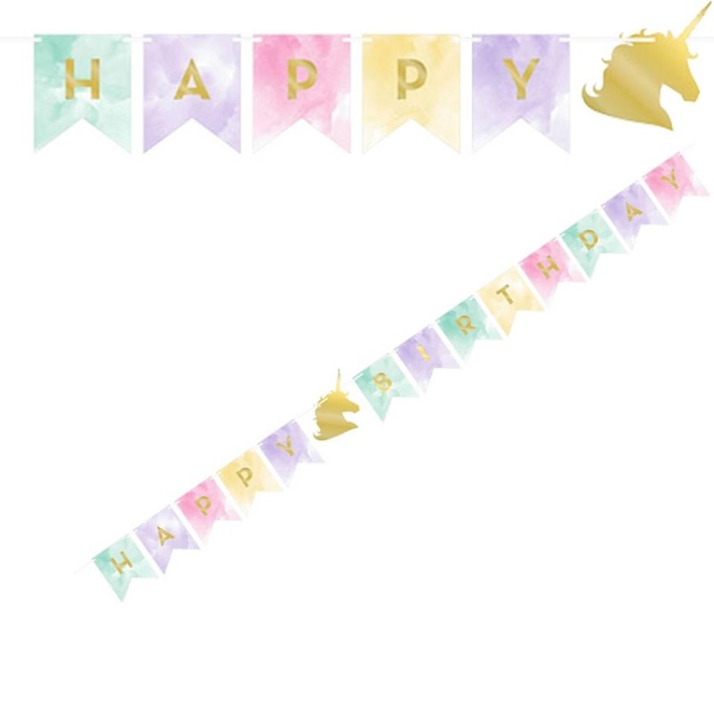 Unicorn Sparkle Happy Birthday Banner - 14cm x 1.67m