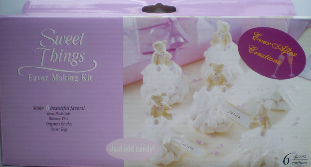 Bear Bomboniere Favour Making Kit  with Tulle & Ribbon - 6 Pack