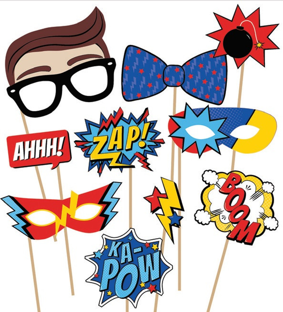 Superhero Party Photo Props  - 10 Pack