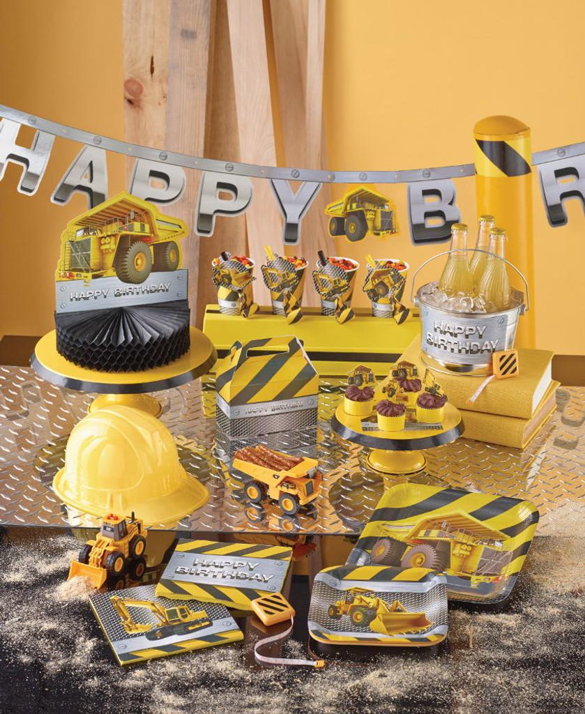 Construction Birthday Zone Honeycomb Centrepiece