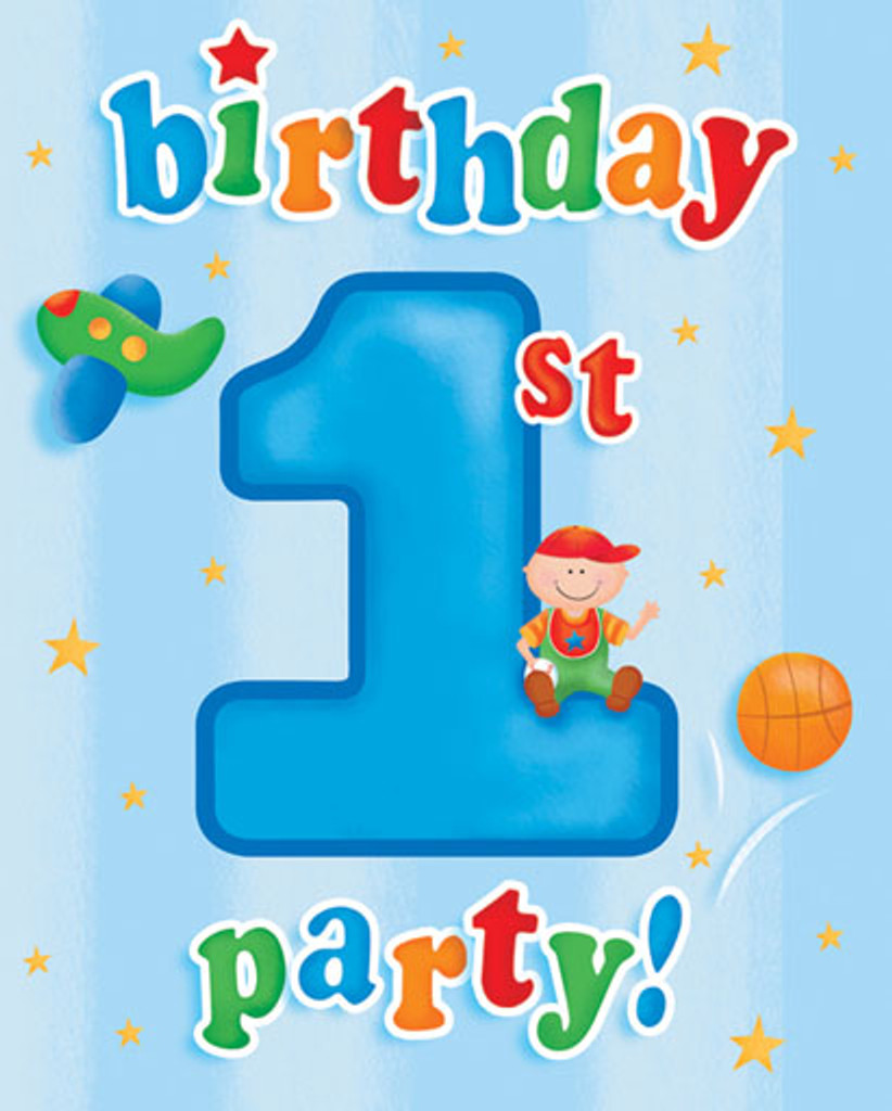Fun at One 1st Birthday Boy Invitations - Pack of 8