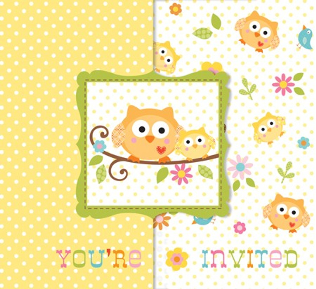 Happy Tree Owl Invitations and Envelopes - Bulk 25 Pack