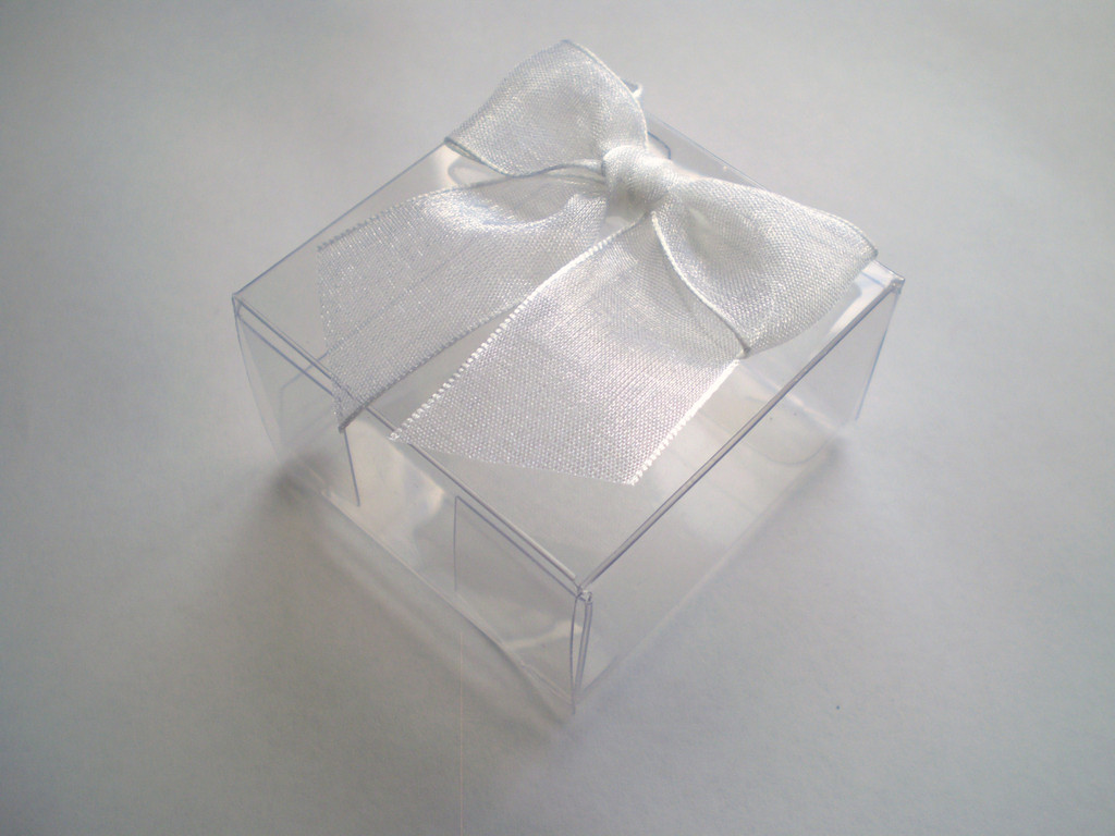 Acetate Box with Organza Bow - 6 Pack