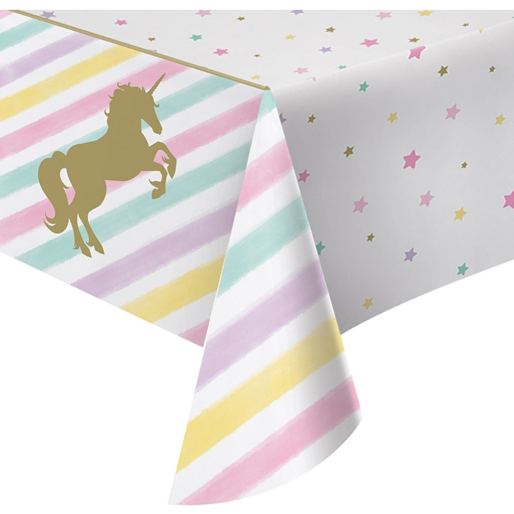 Unicorn Sparkle Plastic Tablecover 137cm x 259cm