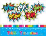 Superhero Party Pick Candles - 5 Pack