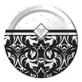 Ever After Black Damask 26 cm Banquet/Dinner Plates - 8 Pack