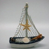 Blue and White Sail Boat with Shells - 10 x 12.5cm