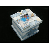 Wooden Nautical Box with Lighthouse, Starfish and Shells