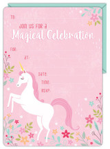 Unicorn Party Invitations with Envelopes - 16 Pack