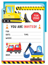 Construction Party Invitations - 8 Pack