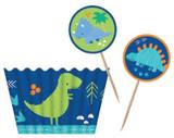 Dino-roar Dinosaur Cupcake Cases and Picks - 12 Pack