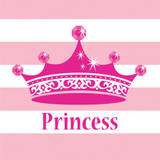 Pink Princess Beverage Napkins -  16 Pack