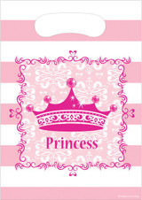 Pink Princess Party Loot Bags - 8 Pack
