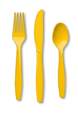 School Bus Yellow Cutlery - 18 Pack