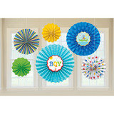 Ahoy Baby Boy Paper Fan Decorations - 6 Fans