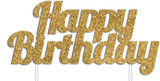 Happy Birthday Cake Topper - Gold