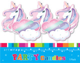 Unicorns and Clouds Pick Candles - 5 Pack