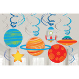 Blast Off Birthday Hanging Swirl Decorations - 12 Pack