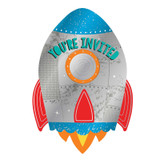 Blast Off Birthday Metallic Postcard Invitations - 8 Pack