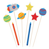 Blast Off Birthday Large Candle Set - 8 Pack