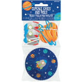 Blast Off Birthday Cupcake Cases & Picks Set - 24 Pack