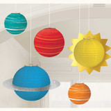 Blast Off Birthday Planets Paper Lanterns - 5 Pack