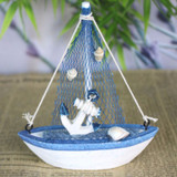 Wooden Nautical Fishing Boat with Shells and Anchor - 14 cm  x 11 cm