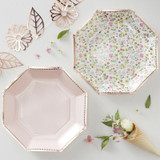 Rose Gold Paper Plates in Blush Pink and Floral Designs - 8 Pack