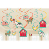 Barnyard Farm Animal Birthday Hanging Swirl Decorations - 12 Pack