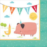 Barnyard Farm Animal Birthday Lunch Napkins - 16 Pack