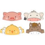 Barnyard Farm Animal Birthday Crowns Party Hats - 8 Pack
