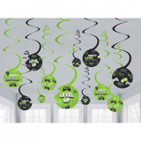 Level Up Gamer Hanging Swirl Decorations - 12 Pack