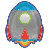 Blast Off Birthday Rocket Ship Plates - 8 Pack