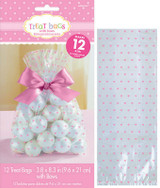 Pink Hearts Clear Cello Treat Bags with Ribbon - 12 Pack