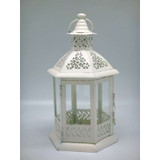 White Metal Tea Light Lantern