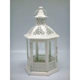 White Metal Tea Light Lantern