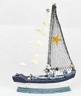 Fishing Boat with Shells, Starfish & Anchor - 15cm x 21.5cm