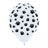Paw Prints Latex Biodegradable Balloons - 12 Pack