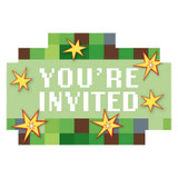 Minecraft Inspired TNT Party Invitations - 8 Pack
