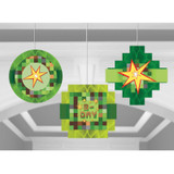 Minecraft Inspired TNT Party Honeycomb Hanging Decorations - 3 Pack