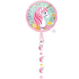 Magical Unicorn Drop a Line Jumbo Balloon, Ribbon and Weight