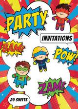 Superhero Party Padded Invitations - 20 Invites