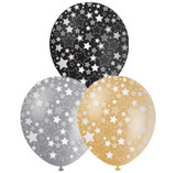 Formal Gold, Silver and Black Star Balloons - 10 Pack